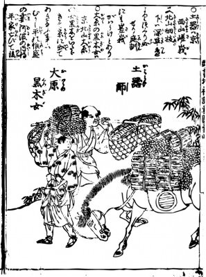 The woman and livestock processor who sell Maki with those who make earthenware are drawn.